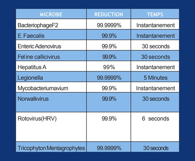 efficacite virus bacteries